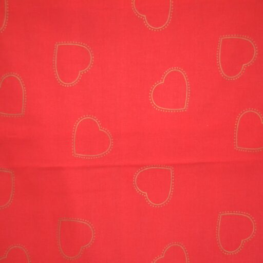 24.114.21 Guld hjerter rød bund 140 cm bred 12,5 meter pr. rulle