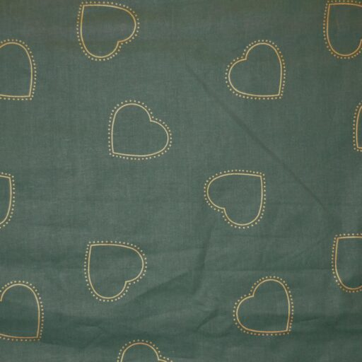 24.114.50 Guld hjerter grøn bund 140 cm bred 12,5 meter pr. rulle