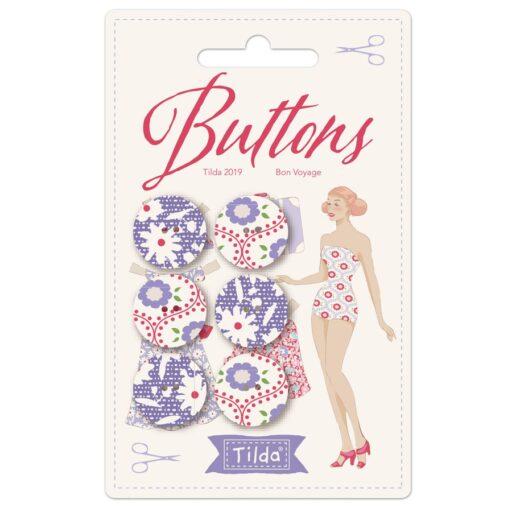 400034 Buttons 18 mm - 6 Buttons - Tilda Bon Voyage
