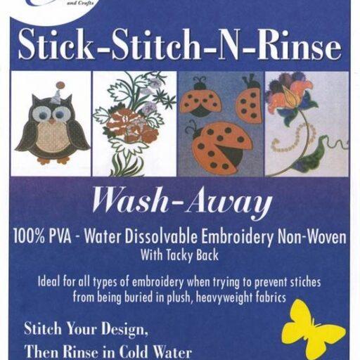 67.471.8  Bosal stick-stitch-n-rinse – water dissolvable embroidery